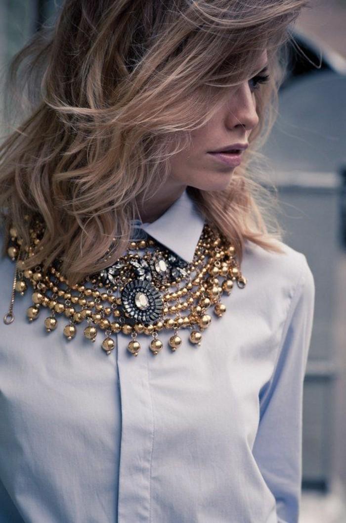 Comment porter avec style le gros collier - Comment porter une chemise femme ...