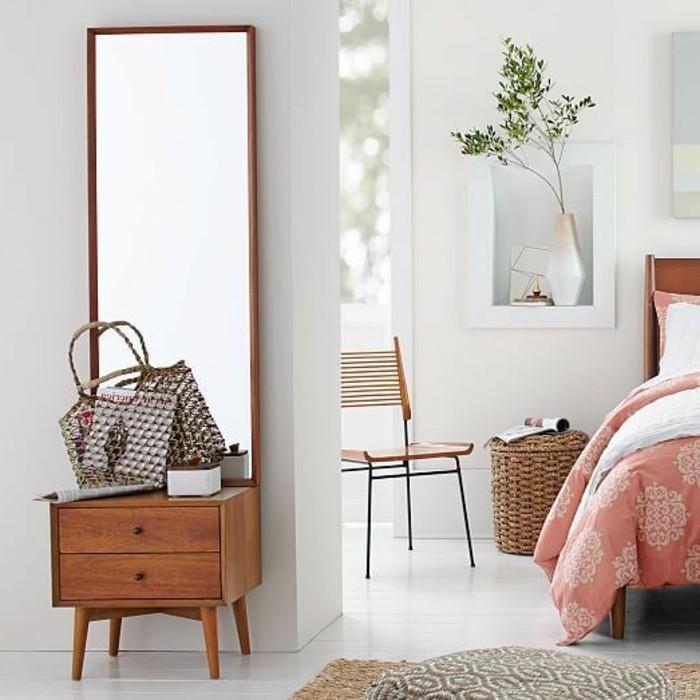 0-console-en-bois-avec-miroir-comment-meubler-le-couloir-sol-en-planchers-blancs