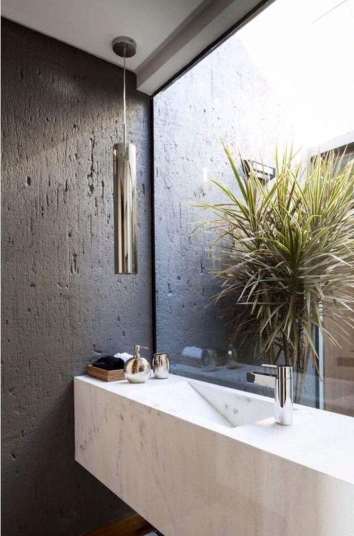 Salle De Bain Contemporaine 2016 : … -salle-de-bain-italienne-marbre-blanc-murs-gris-salle-de-bain-moderne