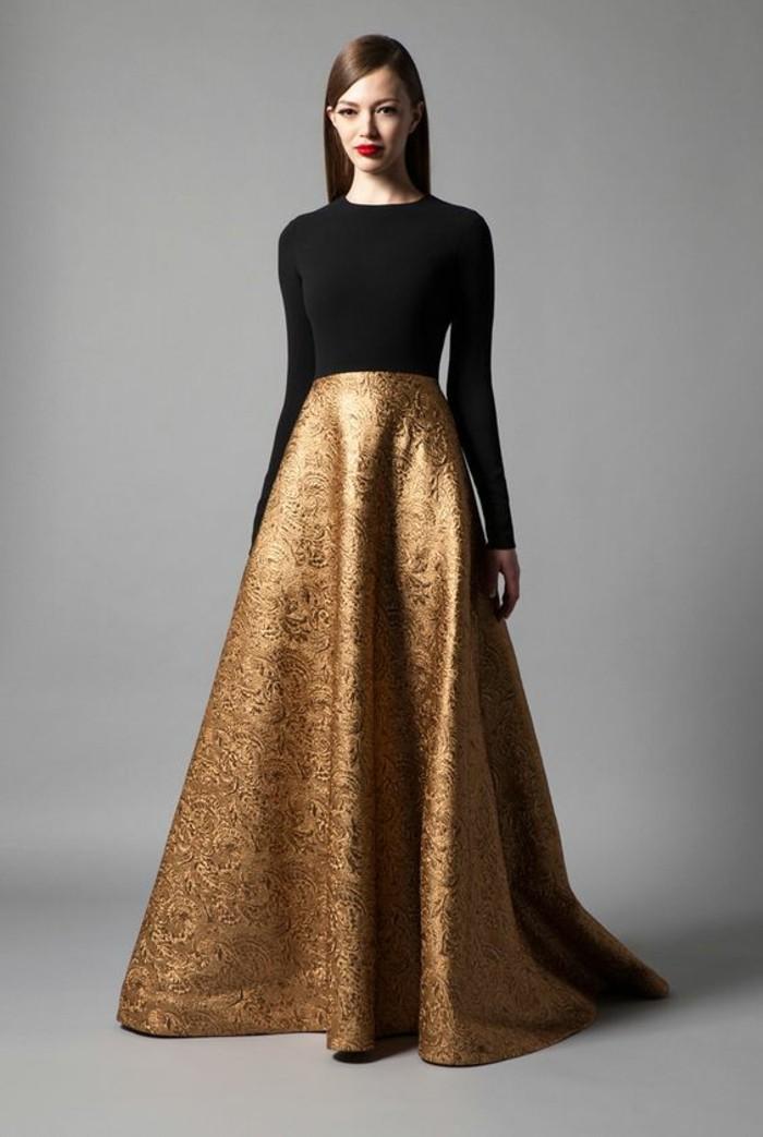 0-jupe-longue-evasee-en-or-top-noir-jupe-longue-dorée-femme-robe-de-soirée-pas-cher