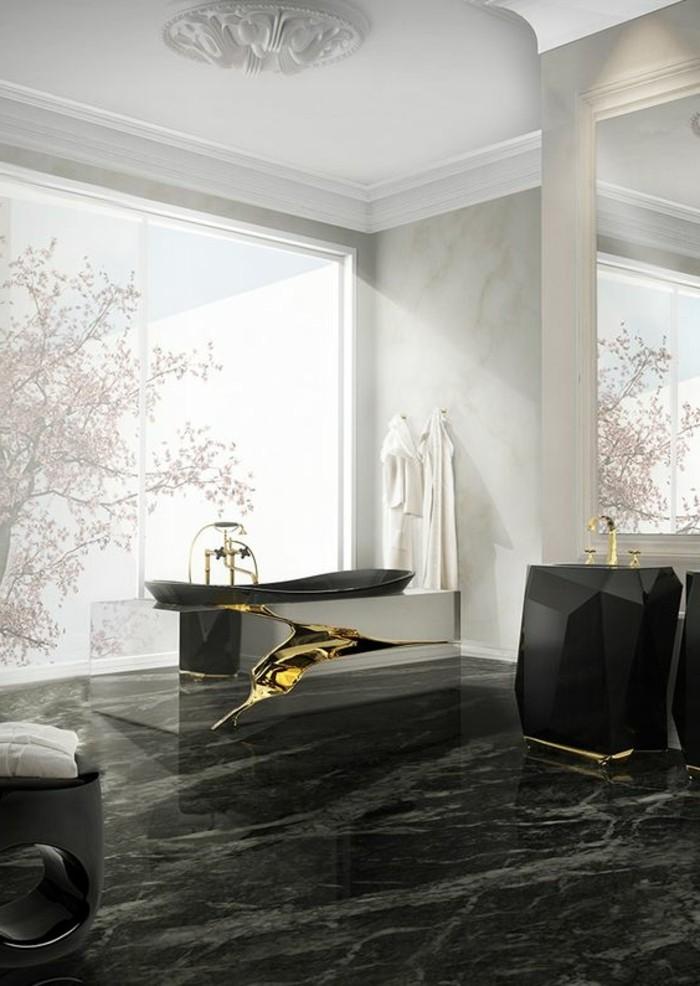 Salle De Bain Contemporaine 2016 : -de-salle-de-bain–design-luxe-marbre-noir-modele-de-salle-de-bain …
