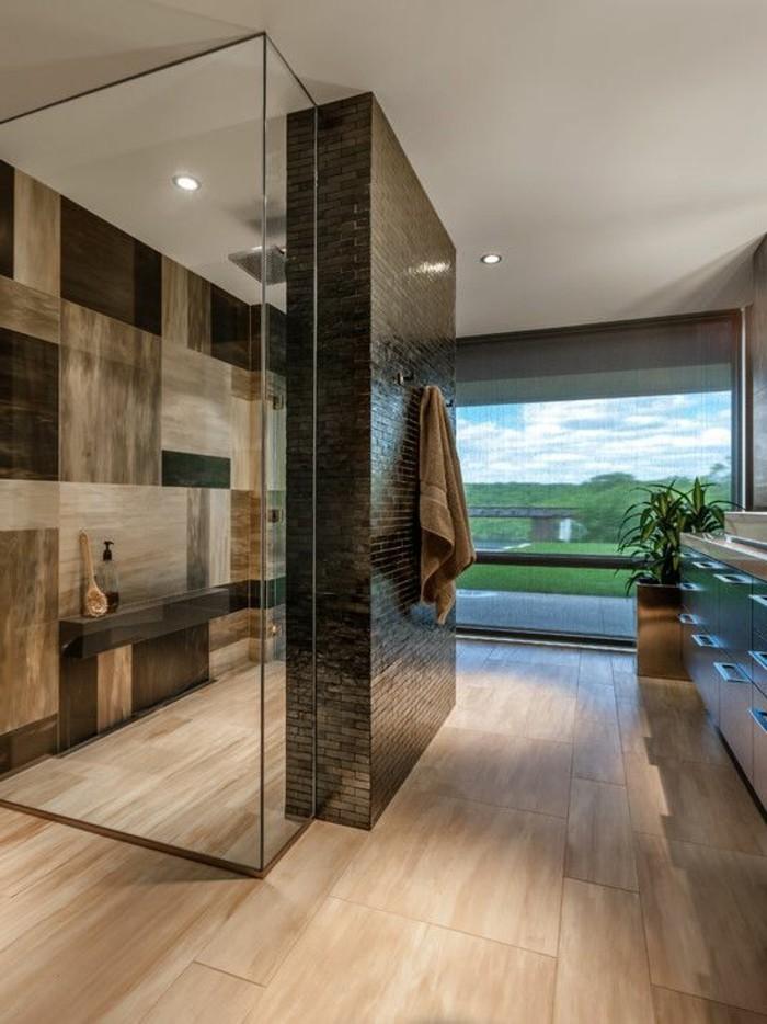 Salle De Bain Faience Grise : modele salle de bain italienne sol en bois clair, salle de bain …