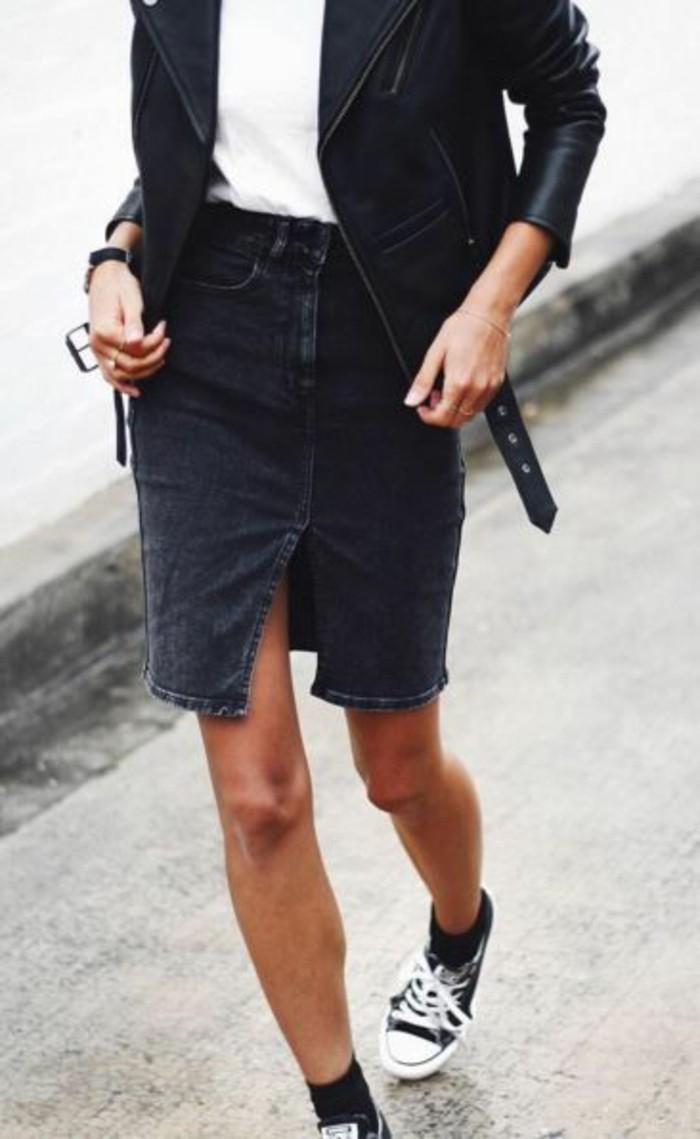 1-jupe-en-denim-noir-mi-longue-sneakers-femme-noir-et-blanc-mode-2016