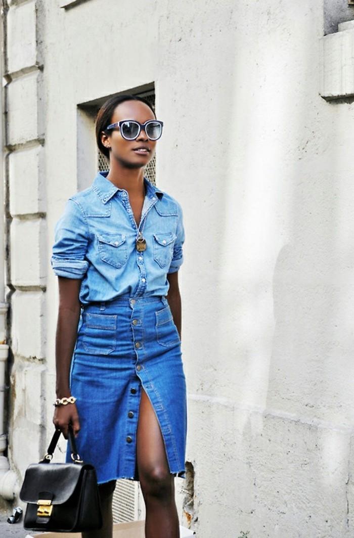 jupe jean taille haute - vintedfr