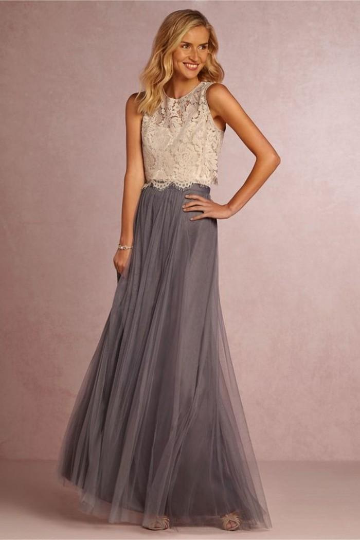 1-robe-de-soirée-pour-mariage-top-en-dentelle-blanche-jupe-longue-plissée-grise
