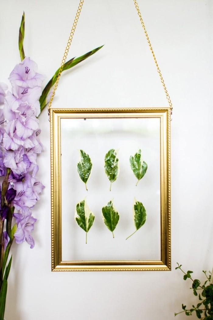 arbres-feuillus-feuille-herbier-diy-décoration-cadre-photo-dorée