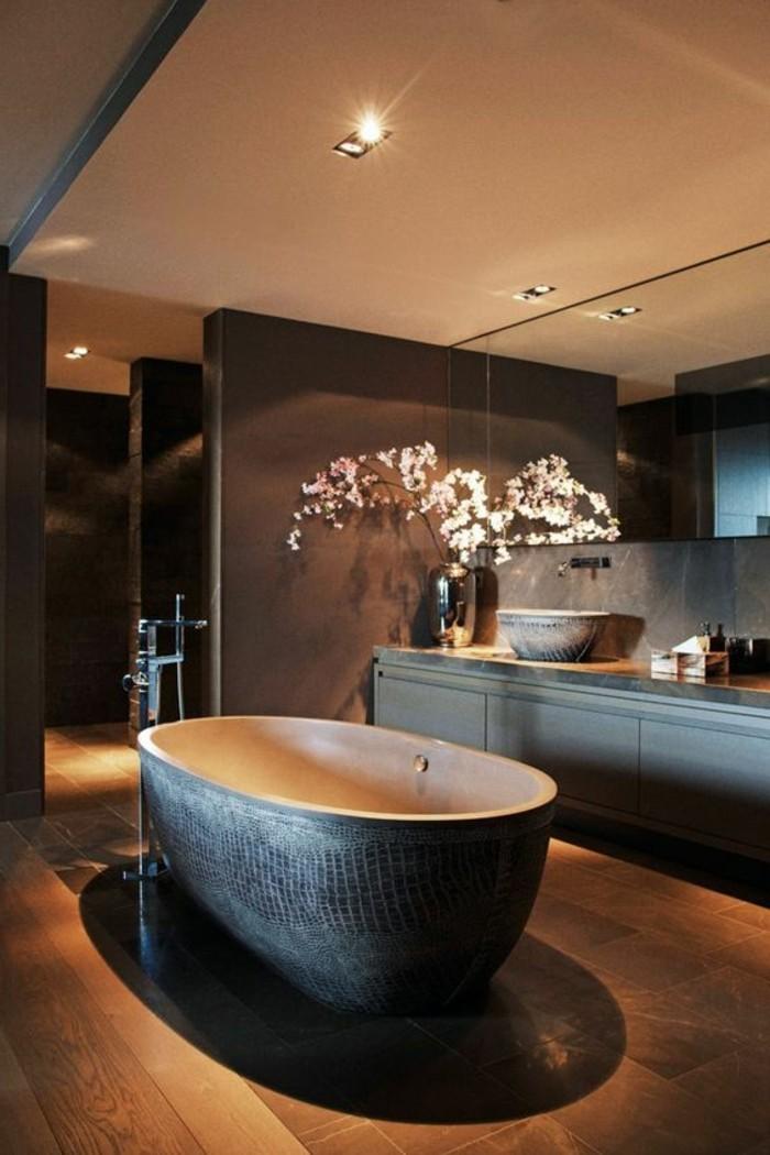 baignoire-ovale-idee-deco-salle-de-bain-en-marron-foncé-zen
