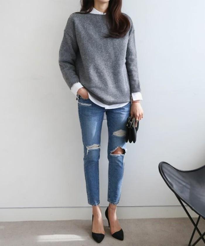 bien-s-habiller-femme-denim-déchiré-femme-pull-gris-comment-m-habiller-bien-pour-2016