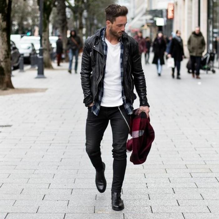 blouson-cuir-homme-redskins-t-shirt-blanc-chemise-homme-à-carreaux-pantalon-noir