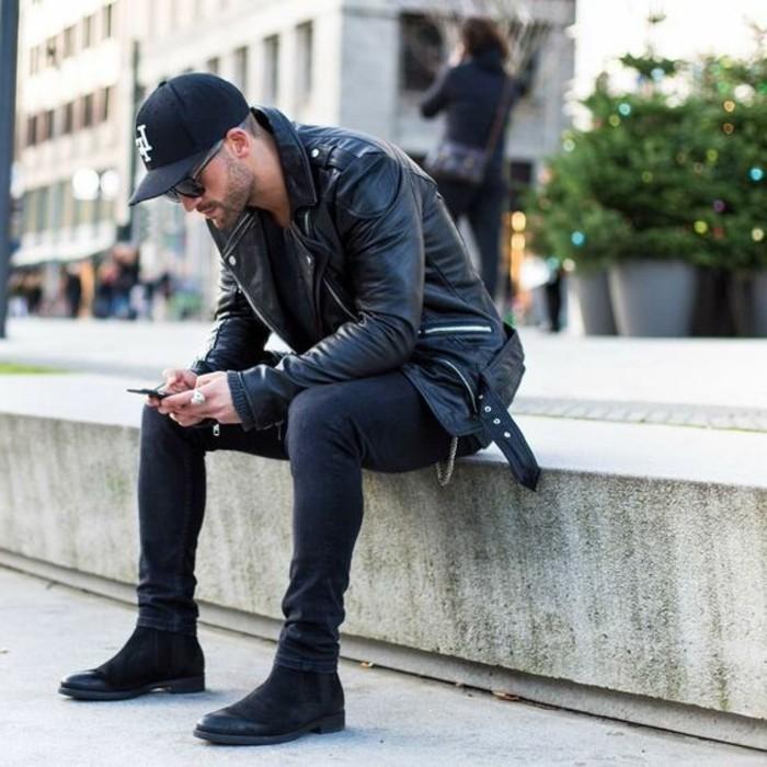 blouson-cuir-homme-redskins-tendances-de-la-mode-homme-denim-noir-slim