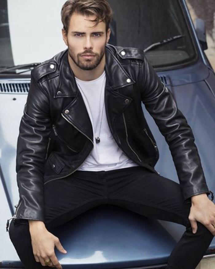 blouson-cuir-homme-redskins-tendances-mode-homme-2016-denim-noir-t-shirt-blanc