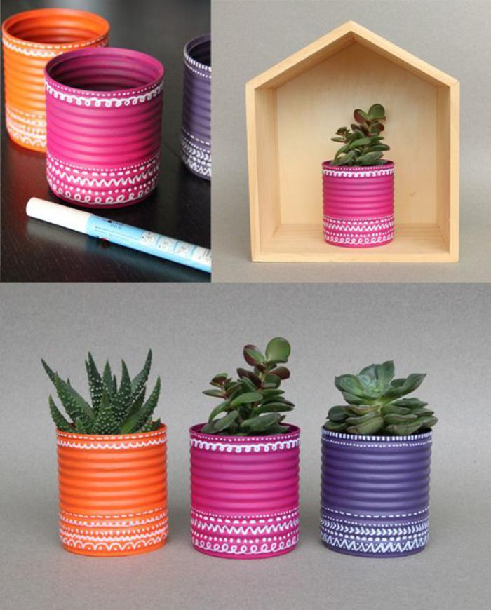 boîte-de-conserve-recyclée-comme-pot-de-fleurs
