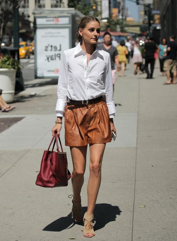 bohème-chic-style-combi-short-tenue-de-jour-simili-cuir-short