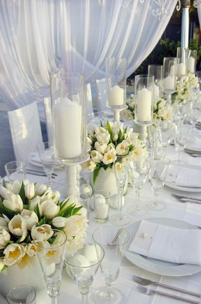 decoration table mariage fleurs blanches. Black Bedroom Furniture Sets. Home Design Ideas