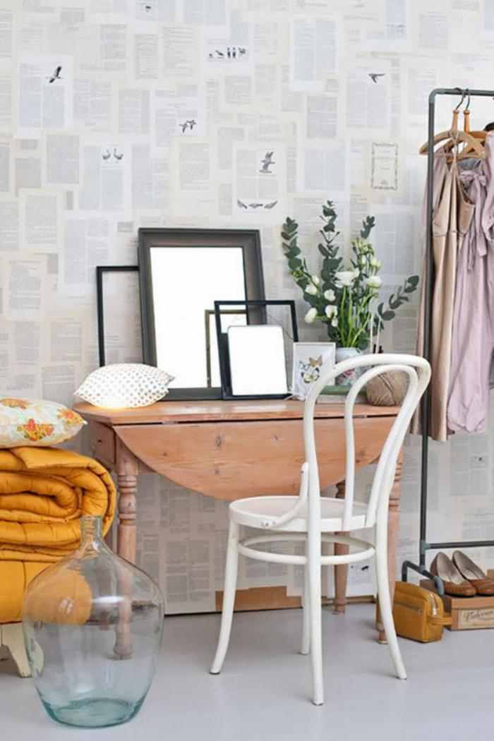 chaise-thonet-porte-vêtement-chaise-peinte-blanche