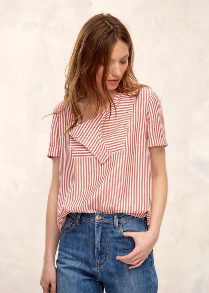 chemise-rayée-femme-chemise-rayée-en-rouge-et-blanc
