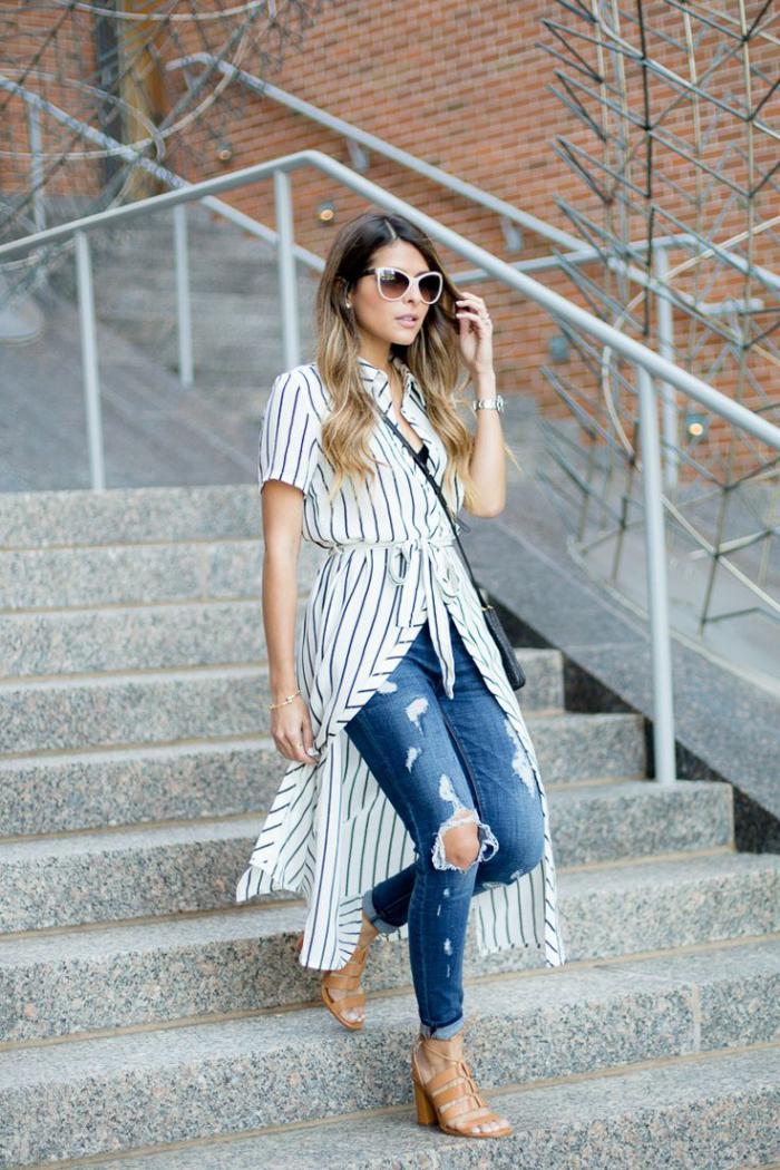 chemise-rayée-femme-chemise-robe-chemise-tunique-rayures-noires-et-blanches
