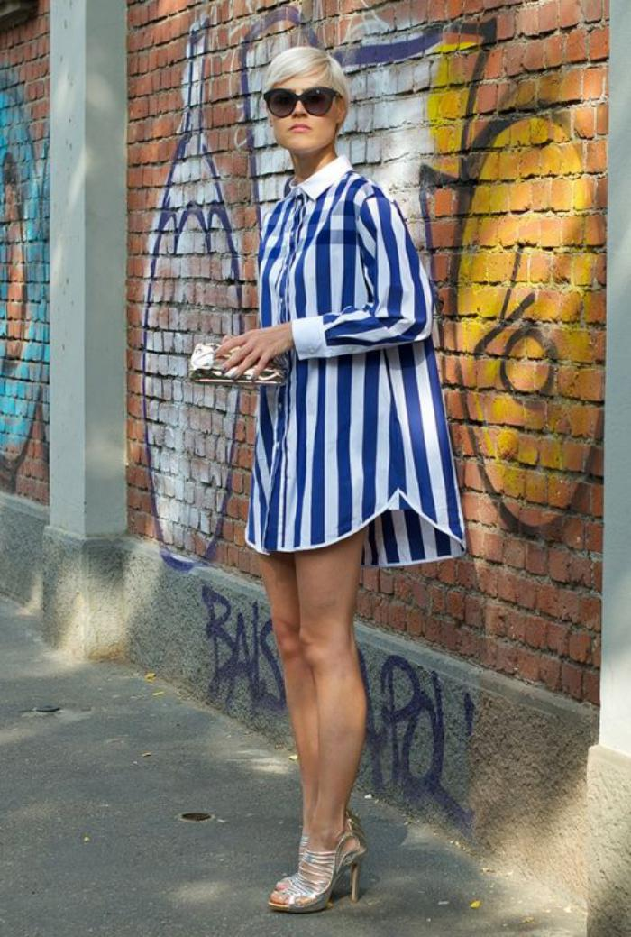 chemise-rayée-femme-chemise-robe-rayures-bleues