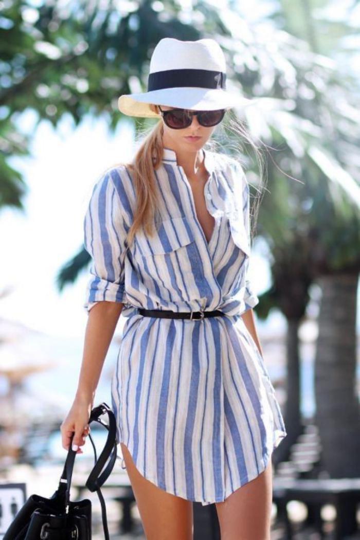 chemise-rayée-femme-chemise-tunique-portée-avec-ceinture