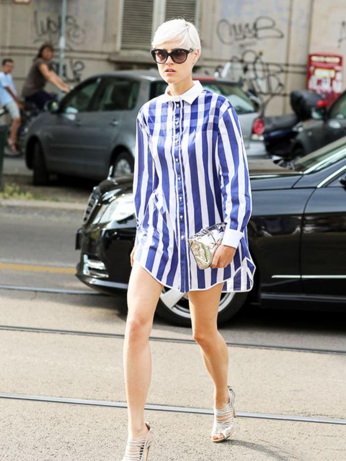chemise-rayée-femme-chemise-tunique-portée-avec-des-talons-hauts