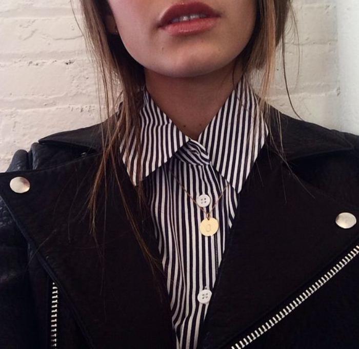 chemise-rayée-femme-jacket-noir