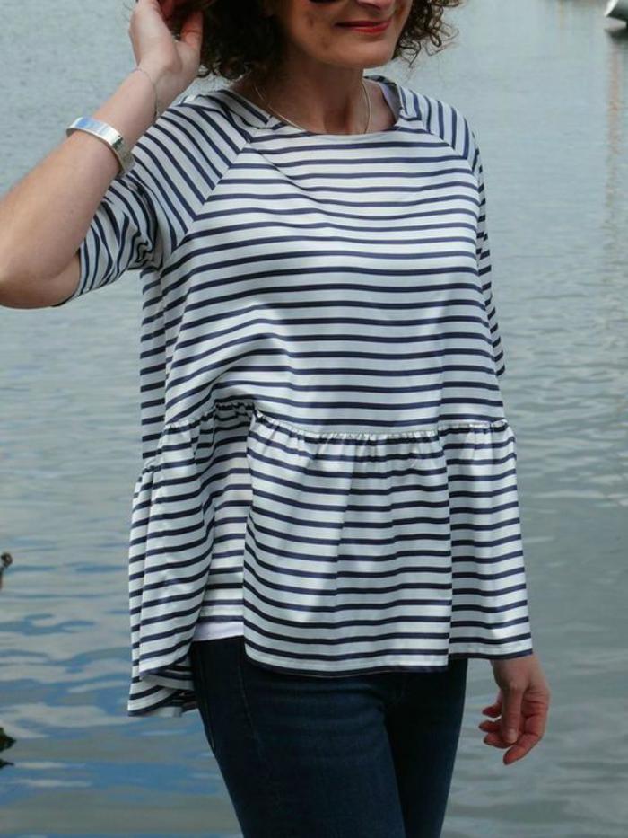 chemise-rayée-femme-modèle-très-féminin-rayures-horizontales