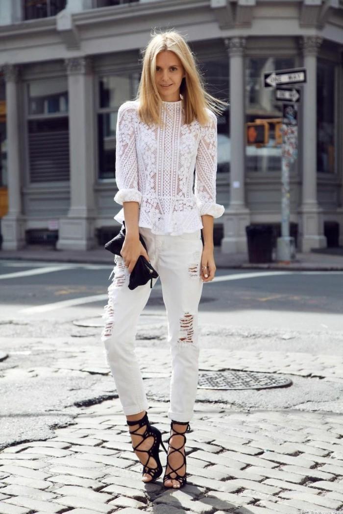 46 Fa Ons De Porter Les Jeans Blanc Femme Cette T