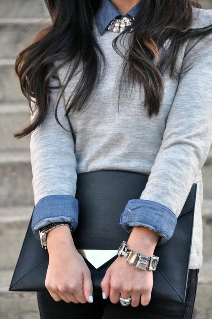 comment-porter-avec-style-gros-collier-femme-pas-cher-pull-gris-chemise-denim