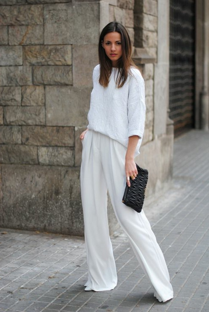comment-s-habiller-classe-pantalon-blanc-blouse-blanche-petit-sac-enveloppe-noir