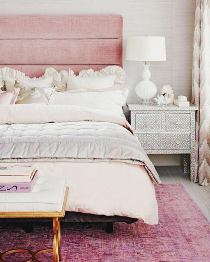 couleur-rose-poudré-chambre-à-coucher-shabby-chic