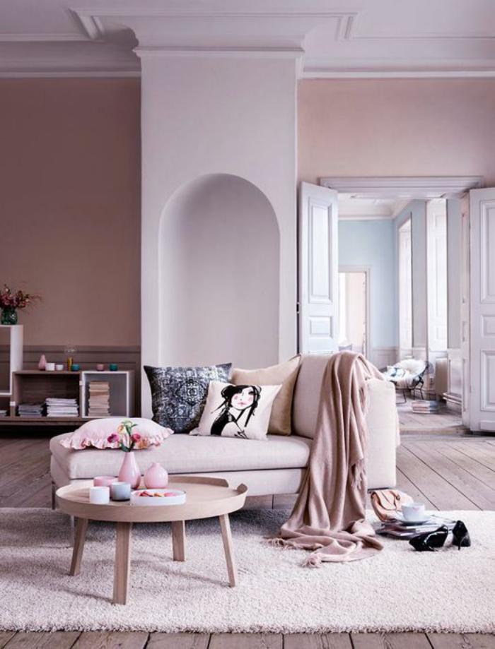 couleur-rose-poudré-salon-en-rose-pastel-table-basse-scandinave