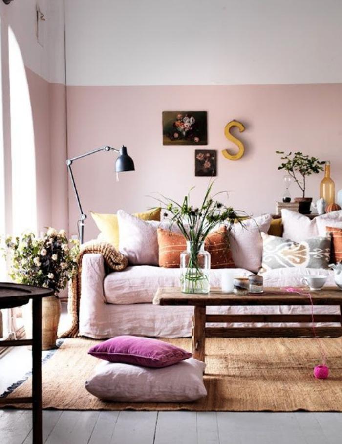 couleur-rose-poudré-salon-unique-décoration-rose