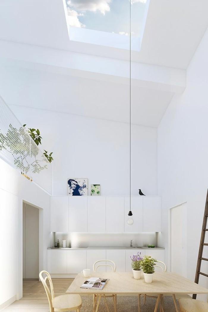 cuisine-blanche-meubles-de-cuisine-en-bois-clair-plafond-en-verre-murs-blancs