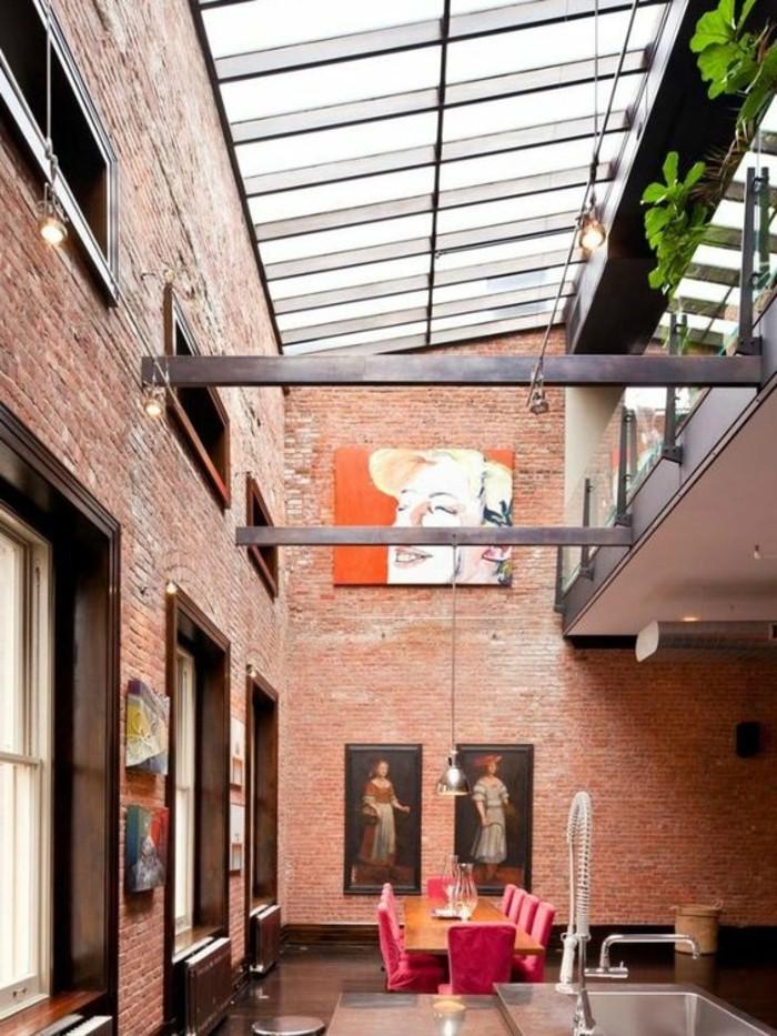 cuisine-industriel-mur-en-briques-rouges-verriere-interieure-pas-cher-verriere-sur-le-toit