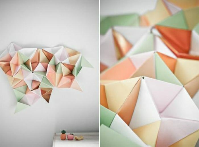 figures origami en papier peint, comment faire un origamie DIY idée