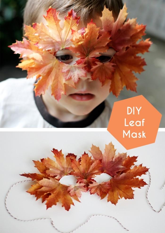 decoration-originale-avec-feuille-pour-herbier-idée-diy-masque
