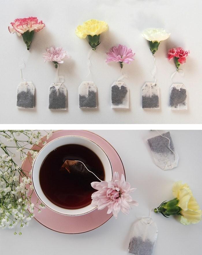 design-thé-vert-sachet-sachet-pour-thé-fleurs