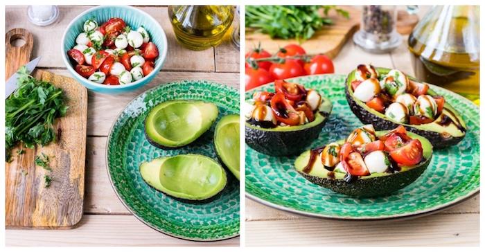 idee recette d entrée froide constitué d avocat farci de mozzarella, tomates coupées en dés et vinaigre de balsamique