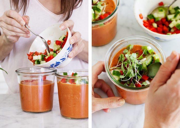 comment faire gazpacho à la pastèque facile, idée entrée facile et chic, soupe froide de crudités