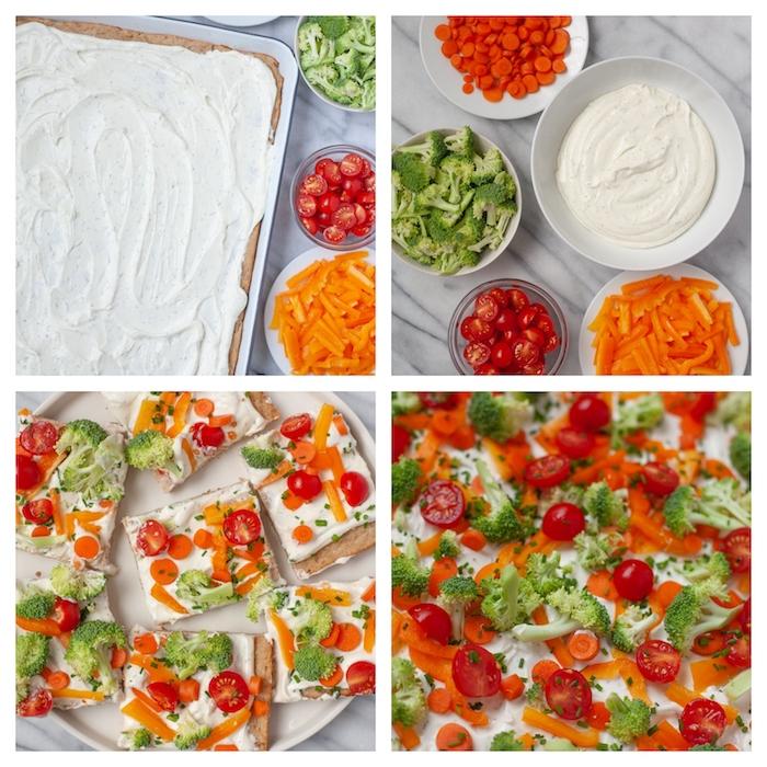 idee de pizza froide avec du fromage à la crème sur une croute et des crudités dessus, entrées faciles et rapides