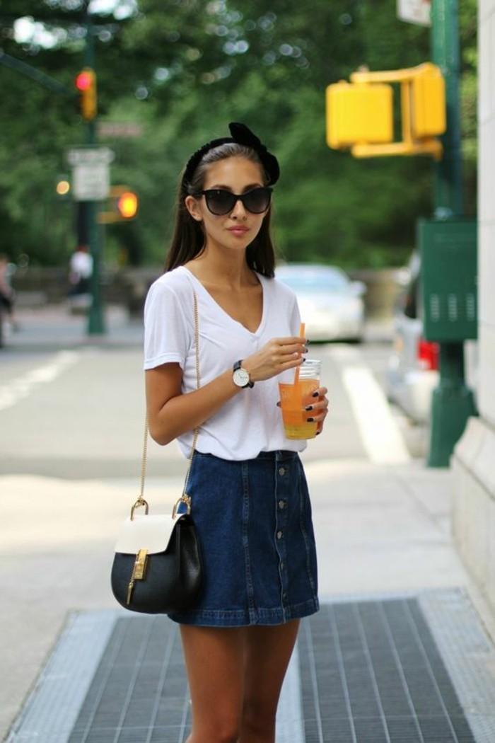 La jupe en jean femme l 39 avis des stylistes for 70 portent un pull bleu