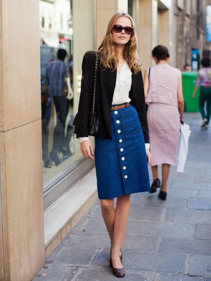 jupe-longue-h&m-en-bleu-foncé-jupe-mi-longue-femme-veste-noir-femme
