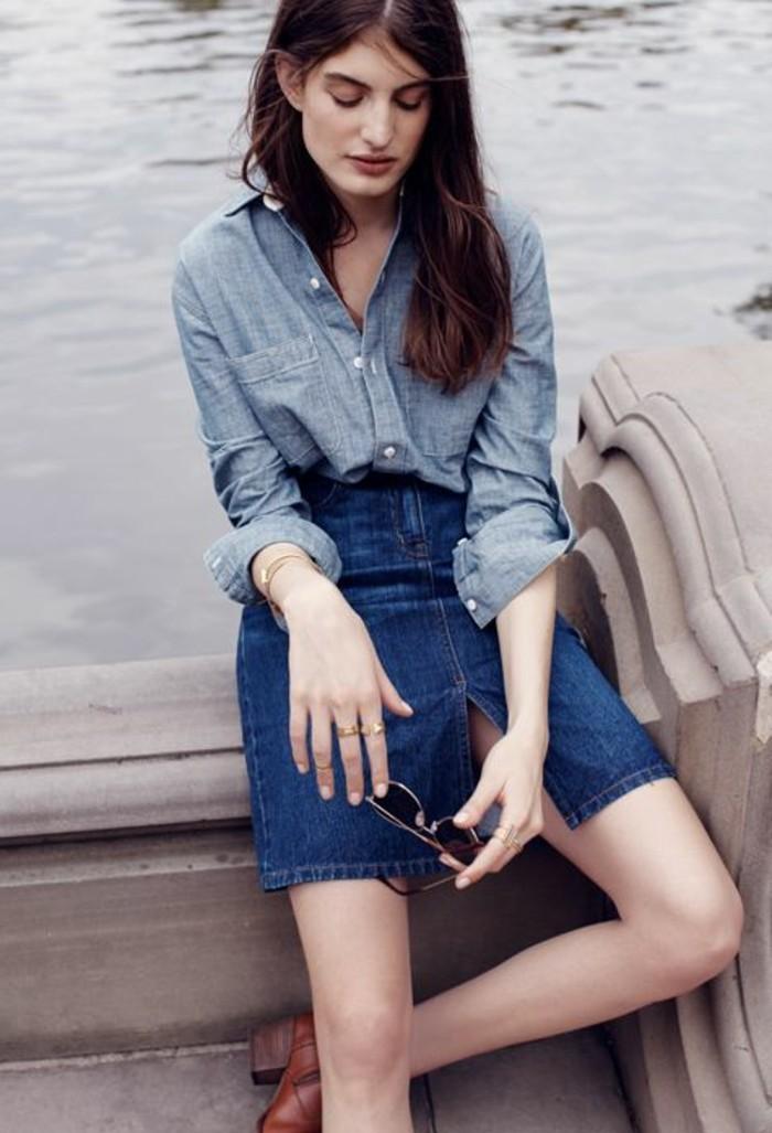jupe-mi-longue-bleu-foncé-chemise-femme-denim-femme-jupe-en-jean-femme