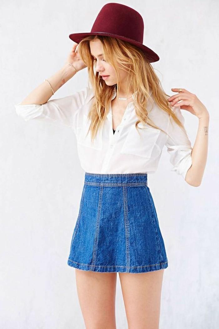 jupe-taille-haute-jupe-trapeze-femme-en-denim-bleu-foncé-et-chemise-blanche