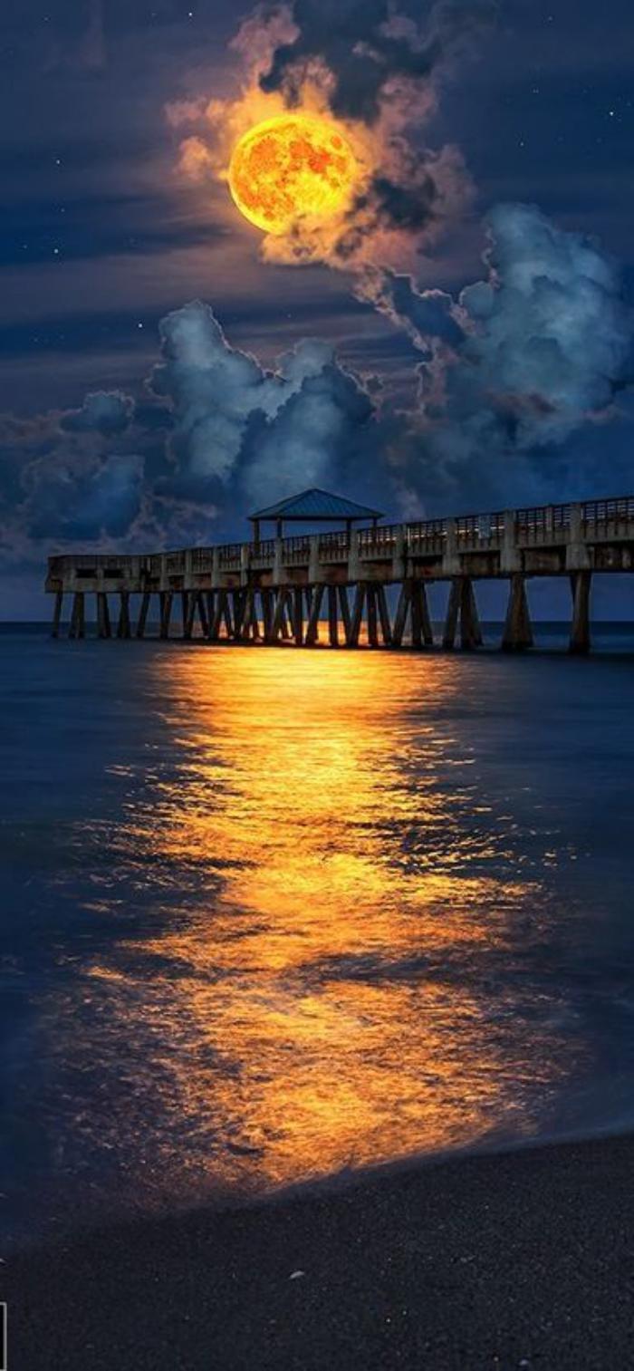 la-pleine-lune-au-dessus-d'un-pont-trace-dorée