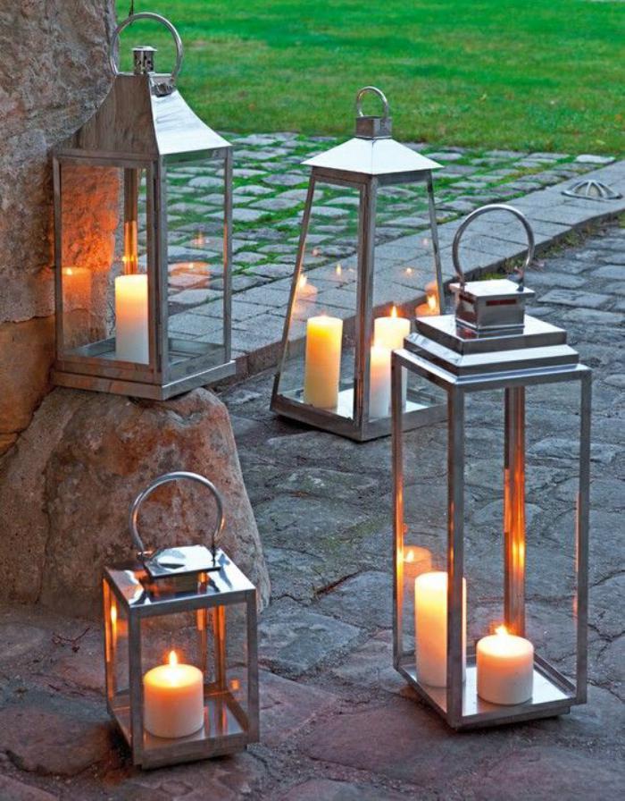 lanterne-bougie-cadre-argenté-lanternes-transparentes