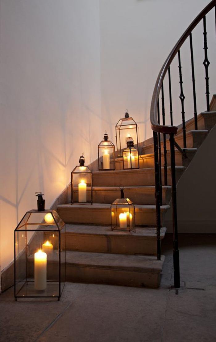 lanterne-bougie-mettre-des-lanternes-sur-les-pas-de-l'escalier