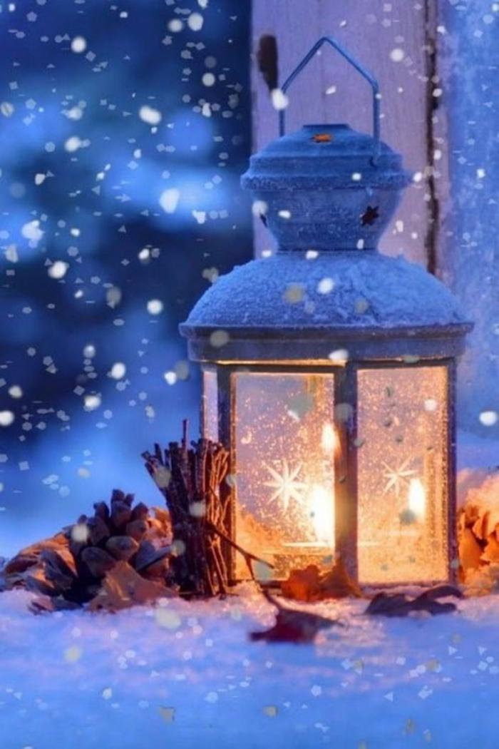 lanterne-bougie-paysage-d'hiver-et-belle-décoration