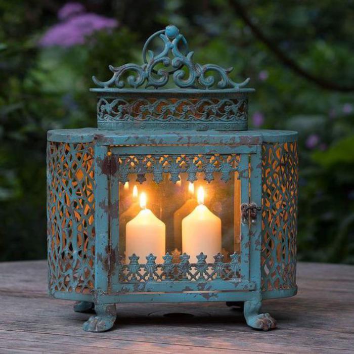 lanterne-bougie-verte-shabby-chic