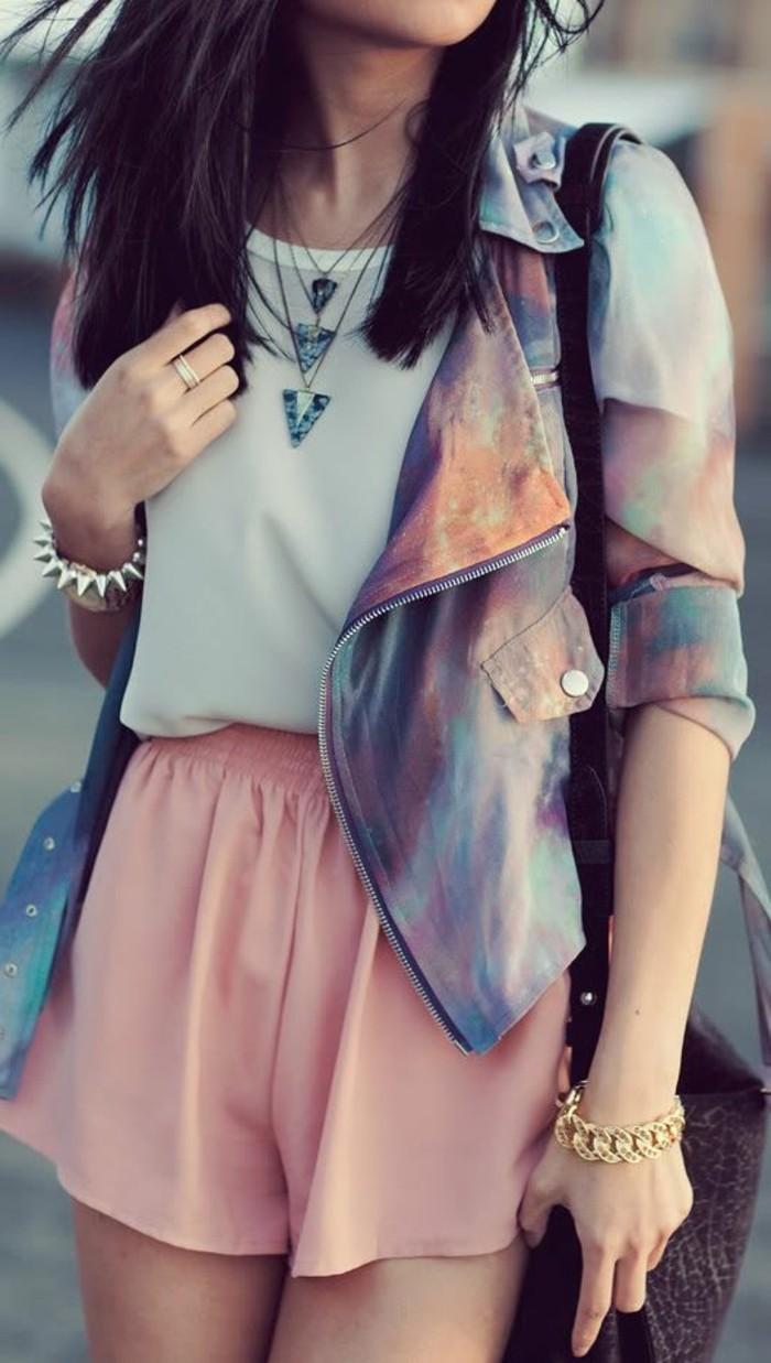 magnignifique-tenue-short-habillé-pour-femme-en-rose